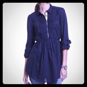 Anthropologie HD In Paris Navy Fan Folds Tunic 4